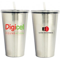 16 oz Double Wall Insulated Travel Mug with Lid and Straw
