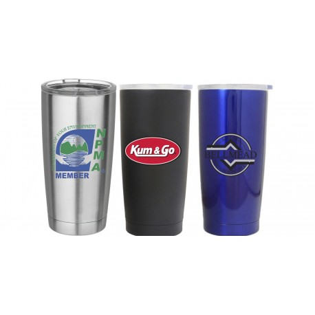 20 oz Double Wall Stainless Steel Vacuum Sealed Copper Lined Auto Travel Mug Screen Printed Laser Engraved Full Color Logo Yeti