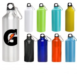 USA Printed Quick Ship 24 oz Classic Aluminum Oryza Travel Bottles with Carabiner