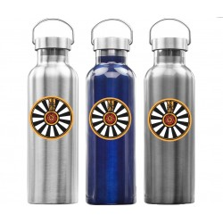USA PRINTED 25 oz Double Wall Stainless Steel Insulated Personalized Promotional Bottle with Lid and Carry Handle