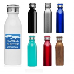 USA Printed 20 Oz. Double Wall Vacuum Insulated Thermal Stainless Steel Bottle with Lid