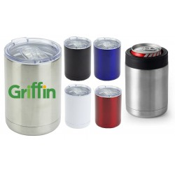 USA Printed 2-In-1 12 Oz Stainless Steel Mug And Bottle Holder Coolie with Lid Ramblers