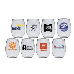 16 oz Custom Printed Personalized  Acrylic Stemless Wine Glass