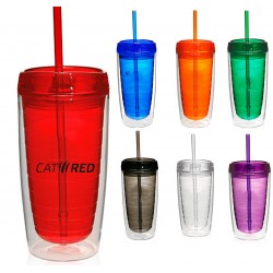 16 oz Double Wall Insulated Travel Tumbler w/Lid and Straw