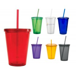 16 oz Classic Acrylic Double Wall with Lid and Straw