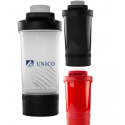 16 oz Plastic Fitness Shaker Bottle w/Mixer and Carry Handle