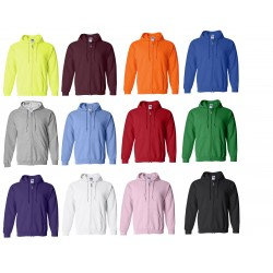 Gildan Zippered Adult Hooded Heavy Blend Pocketed Athletic Sweatshirt with Drawstrings