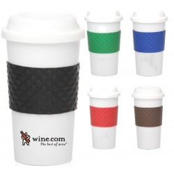 Double Wall Travel Tumblers with Rubber Grip and Lid
