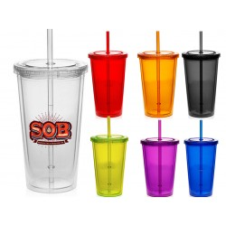 20 oz Acrylic Double Wall Travel Tumbler W/Lid and Straw